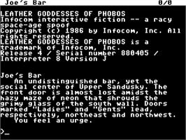 In game image of Leather Goddesses of Phobos on the Commodore 64.