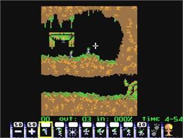 In game image of Lemmings on the Commodore 64.