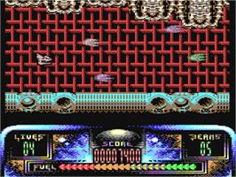 In game image of Lethal Zone on the Commodore 64.