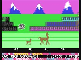In game image of Mama Llama on the Commodore 64.