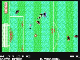 In game image of Manchester United Europe on the Commodore 64.