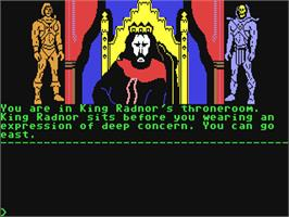 In game image of Masters of the Universe: Super Adventure on the Commodore 64.
