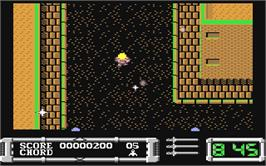 In game image of Masters of the Universe: The Arcade Game on the Commodore 64.