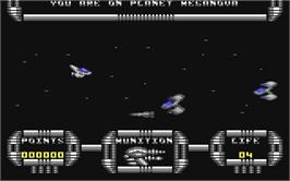 In game image of Meganova on the Commodore 64.