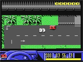 In game image of Miami Chase on the Commodore 64.
