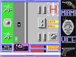 In game image of Miami Vice on the Commodore 64.