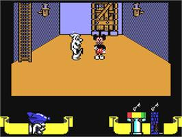 In game image of Mickey Mouse: The Computer Game on the Commodore 64.