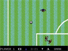 In game image of Microprose Pro Soccer on the Commodore 64.