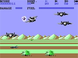In game image of Mig-29 Soviet Fighter on the Commodore 64.