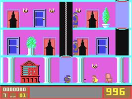 In game image of Mission Elevator on the Commodore 64.
