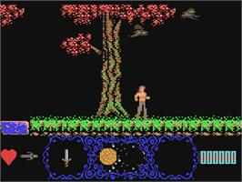 In game image of Moonshadow on the Commodore 64.