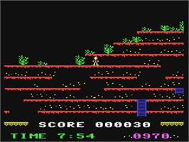In game image of Mountain King on the Commodore 64.