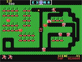 In game image of Mr. Do! on the Commodore 64.