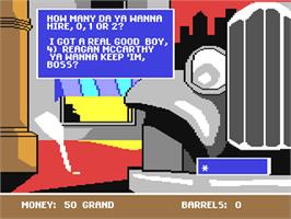 In game image of Mugsy's Revenge on the Commodore 64.