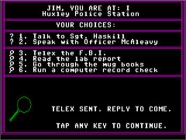 In game image of Mystery Master: Felony! on the Commodore 64.