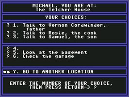 In game image of Mystery Master: Murder by the Dozen on the Commodore 64.