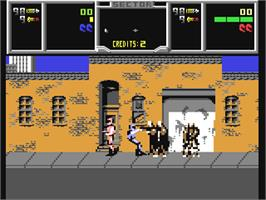 In game image of NARC on the Commodore 64.