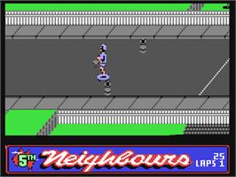 In game image of Neighbours on the Commodore 64.