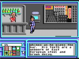 In game image of Neuromancer on the Commodore 64.