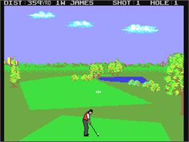 In game image of Nick Faldo's Championship Golf on the Commodore 64.