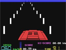 In game image of Night Driver on the Commodore 64.
