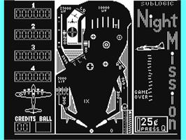 In game image of Night Mission Pinball on the Commodore 64.