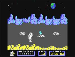In game image of Nodes of Yesod on the Commodore 64.