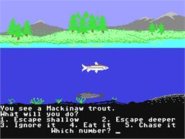 In game image of Odell Lake on the Commodore 64.