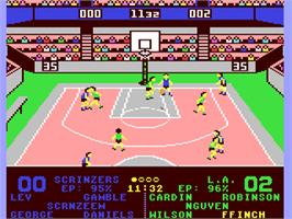 In game image of Omni-Play Basketball on the Commodore 64.