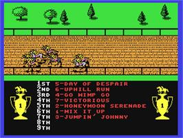 In game image of Omni-Play Horse Racing on the Commodore 64.