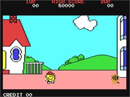 In game image of Pac-Land on the Commodore 64.