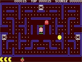 In game image of Pac-Mania on the Commodore 64.