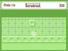 In game image of Paradroid on the Commodore 64.