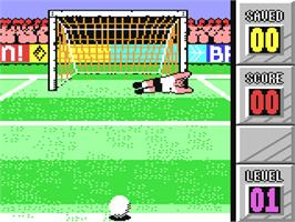 In game image of Penalty Soccer on the Commodore 64.
