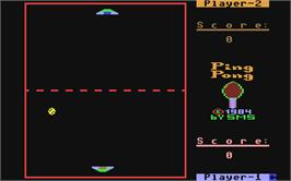 In game image of Ping Pong on the Commodore 64.