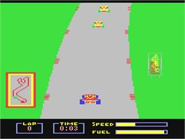In game image of Pitstop on the Commodore 64.