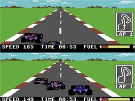 In game image of Pitstop II on the Commodore 64.