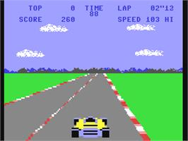 In game image of Pole Position on the Commodore 64.