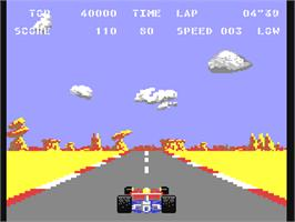 In game image of Pole Position II on the Commodore 64.
