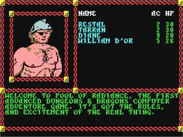 In game image of Pool of Radiance on the Commodore 64.