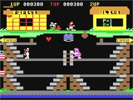 In game image of Popeye on the Commodore 64.