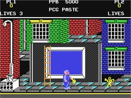 In game image of Poster Paster on the Commodore 64.