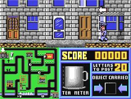 In game image of Postman Pat 2 on the Commodore 64.
