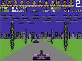 In game image of Power Drift on the Commodore 64.