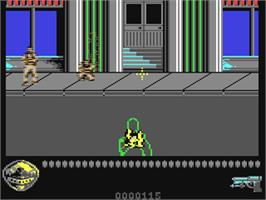 In game image of Predator 2 on the Commodore 64.