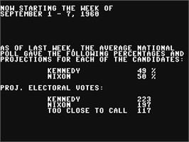 In game image of President Elect: 1988 Edition on the Commodore 64.