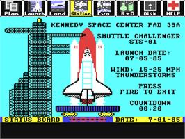 In game image of Project: Space Station on the Commodore 64.