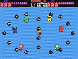 In game image of Psycho Pigs UXB on the Commodore 64.