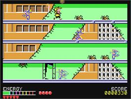 In game image of Psycho Soldier on the Commodore 64.