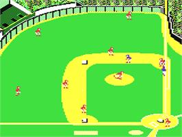 In game image of Pure-Stat Baseball on the Commodore 64.